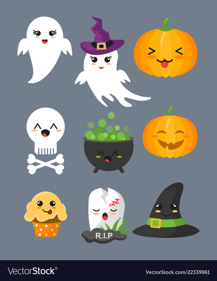 Set of cute halloween elements