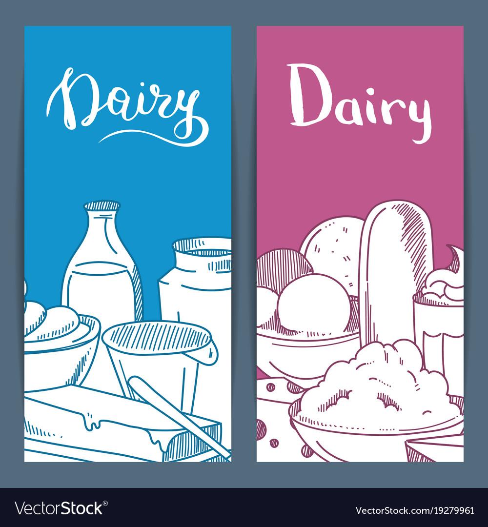 Sketched dairy goods flyer or banner