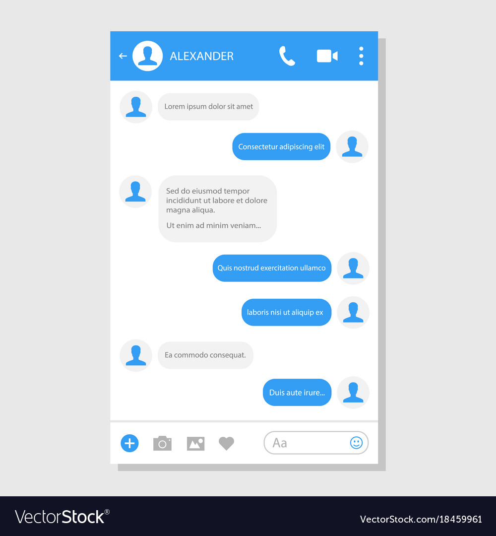 Social network messenger page template Royalty Free Vector