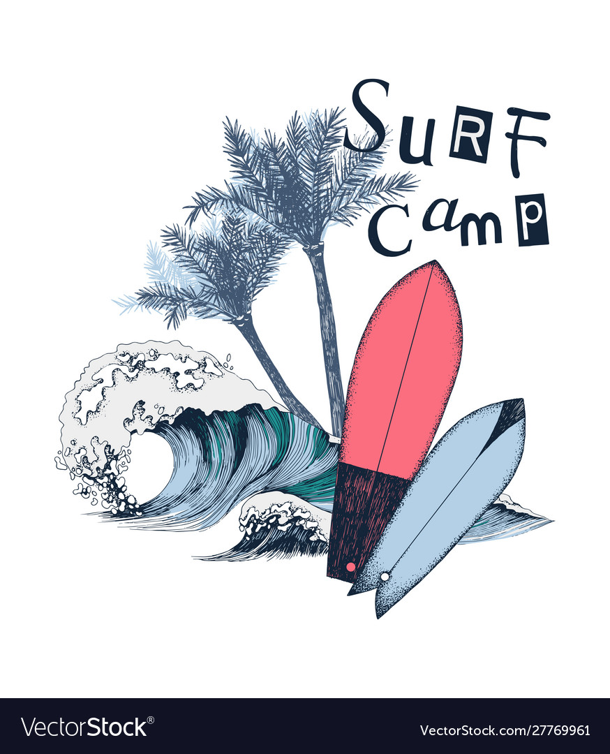 Surf camp poster with surfboards palm trees