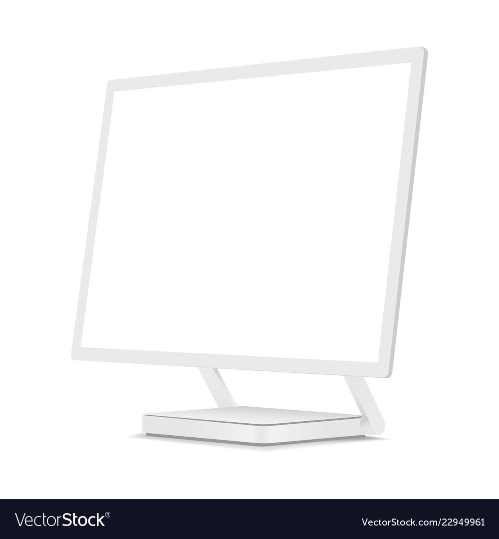 White computer monitor mockup