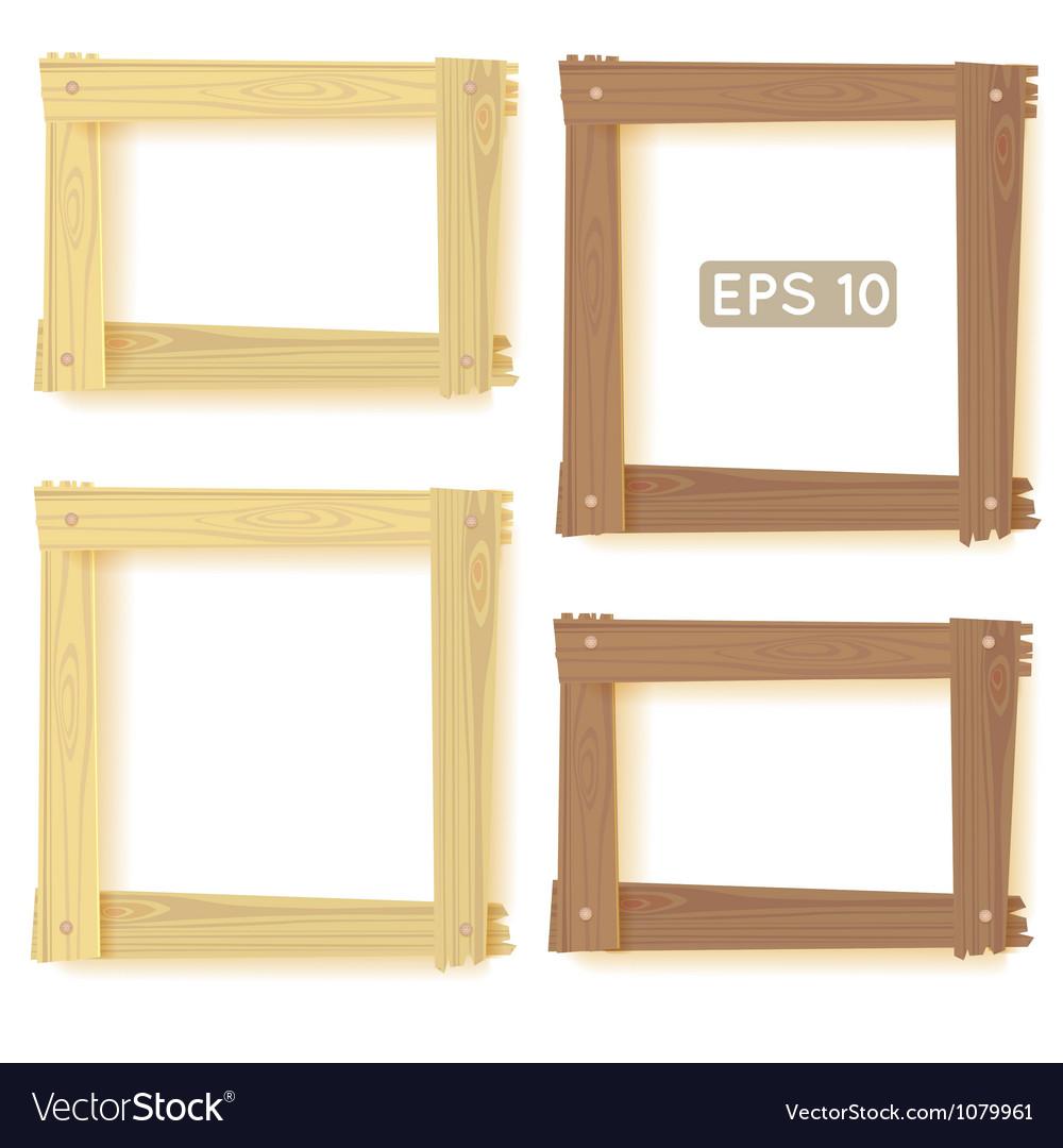 Wooden frames set picture vector image