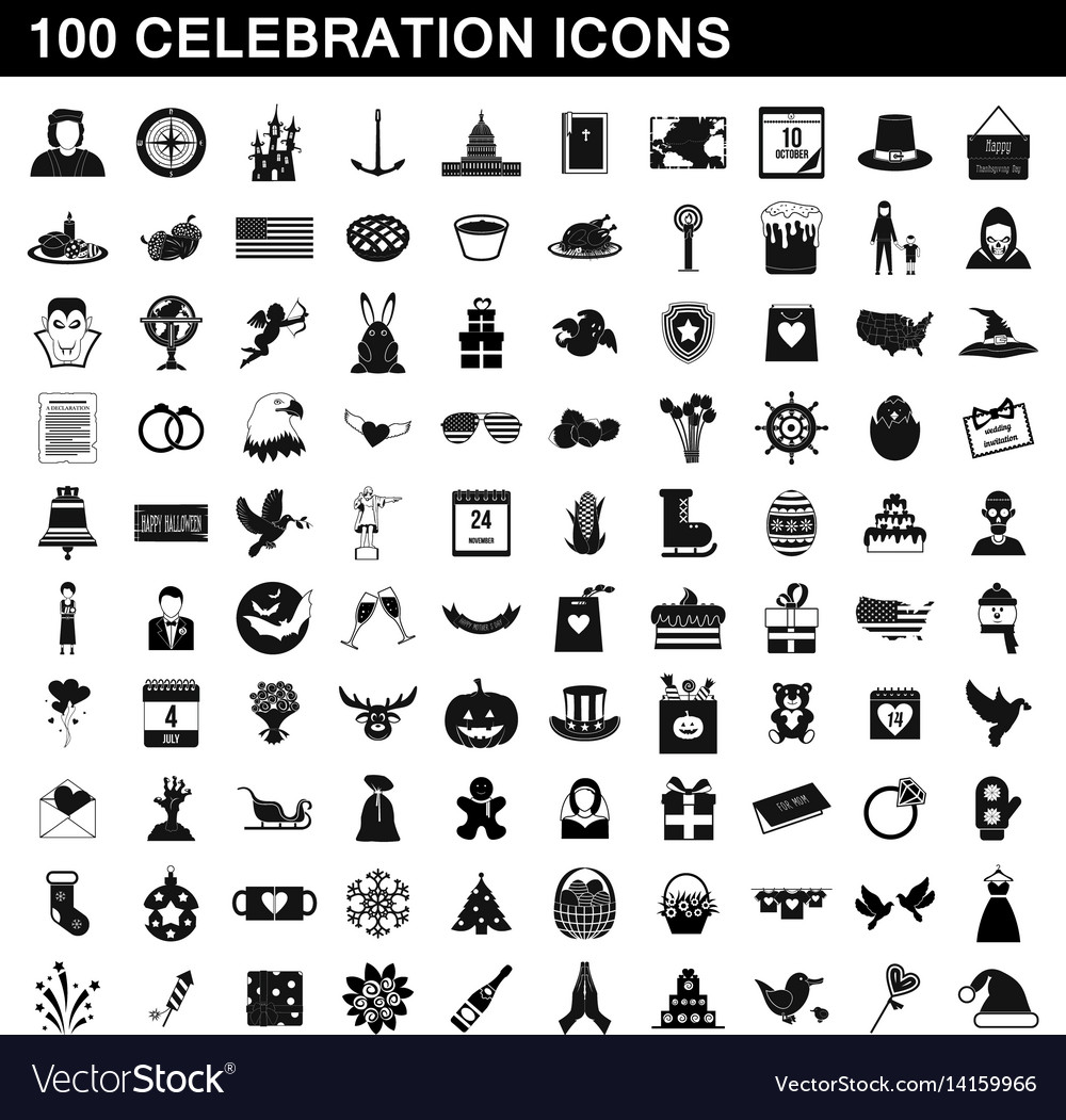 100 celebration icons set simple style