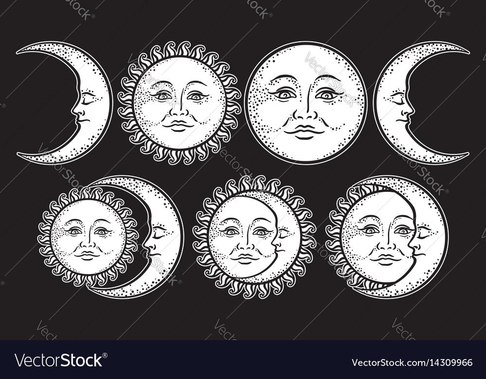 Boho chic flash tattoo set sun and moon
