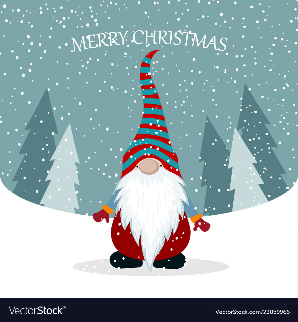 Christmas Gnomes Images.Christmas Card With Cute Gnome
