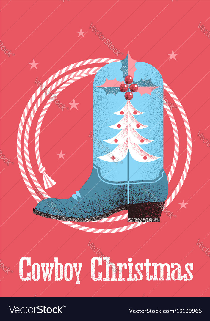 Cowboy christmas card background with western vector image