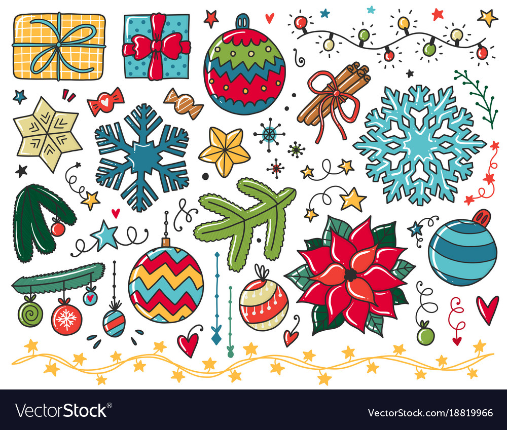 Doodles christmas elements color items with new