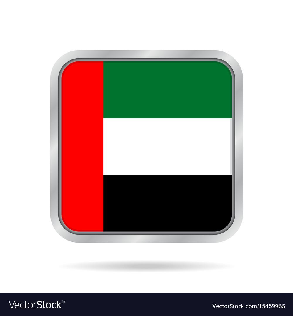 Flag of emirates metallic gray square button