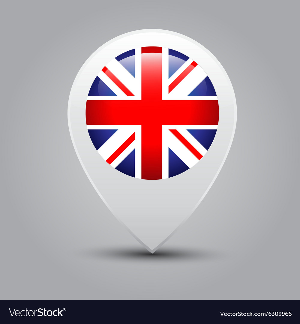 Map pointers with flag United Kingdom