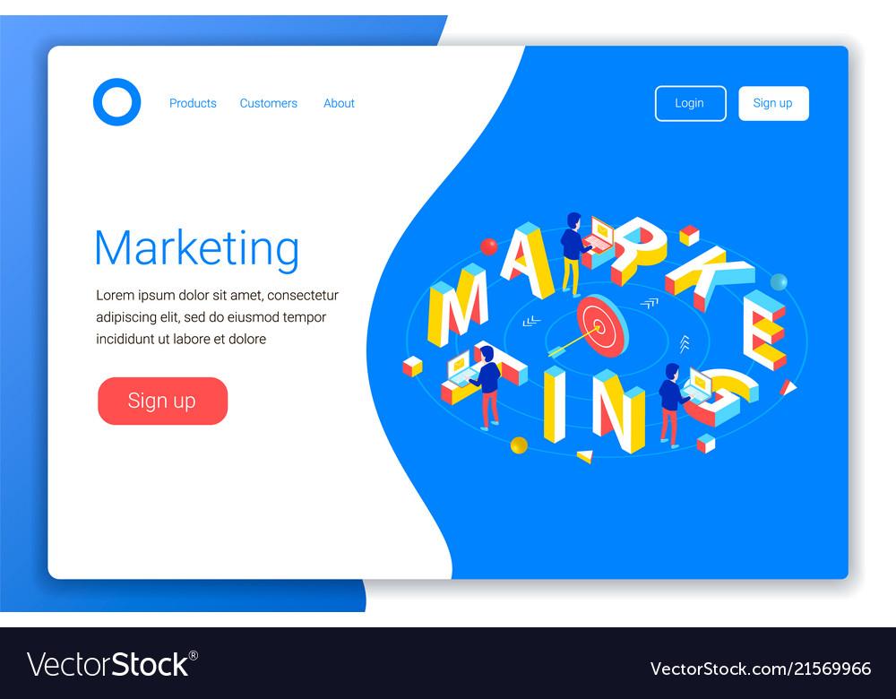 Marketing isometric concept