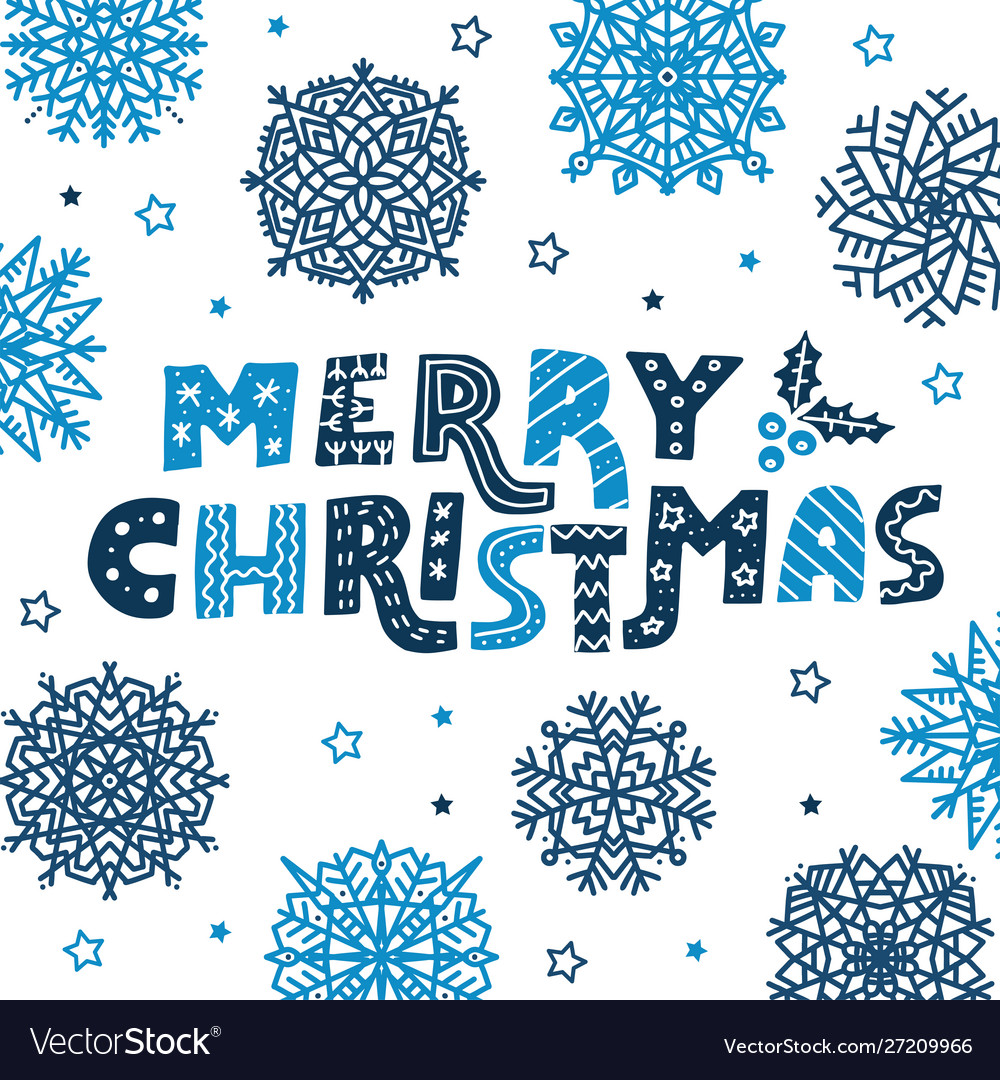 Poster with hand drawn colorful lettering merry
