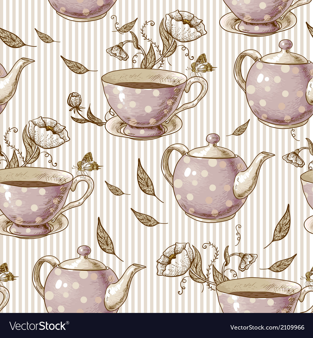 Seamless background with cups and pots