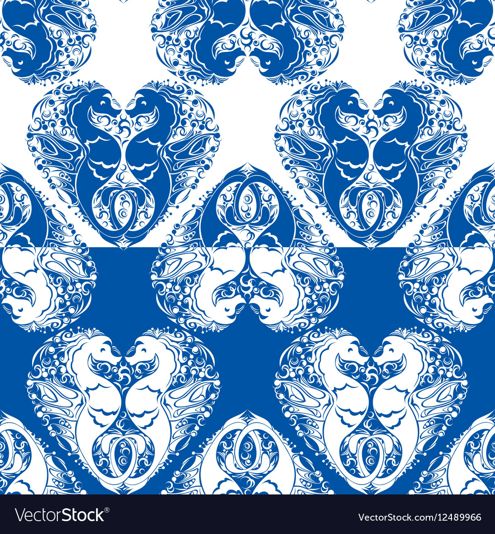 Seamless pattern with heart is made of Couple of vector image