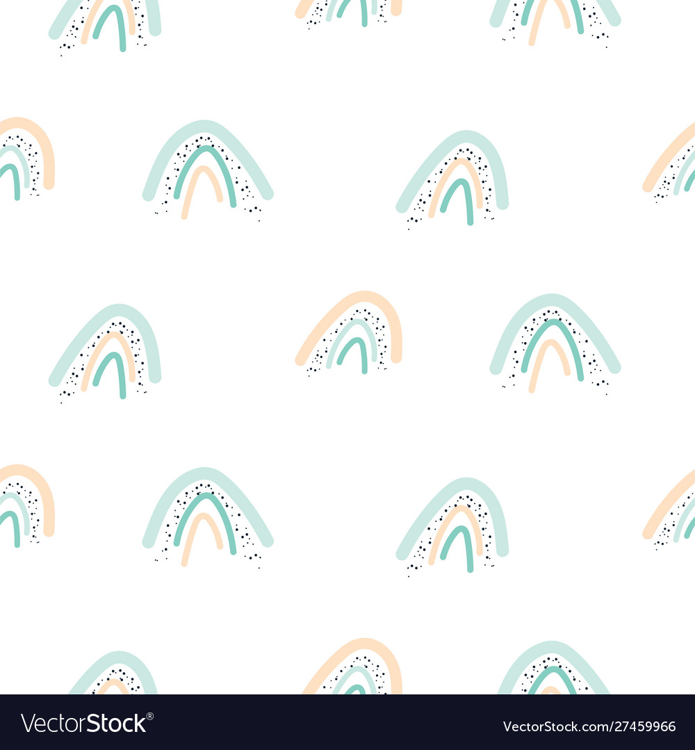Seamless pattern with pastel color rainbow shapes