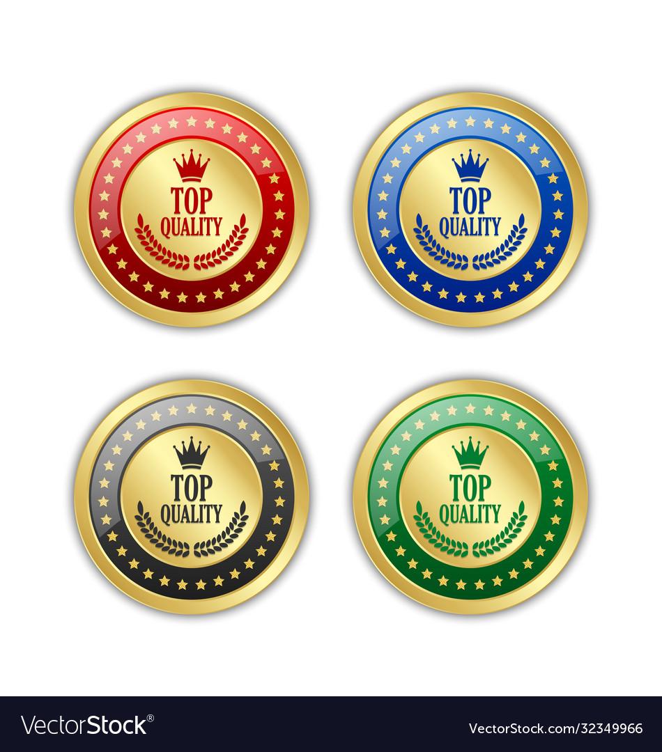 Set golden top quality badges on white