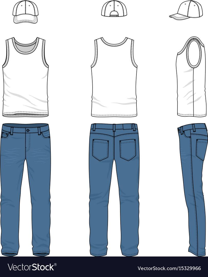 Set of male vest jeans baseball cap