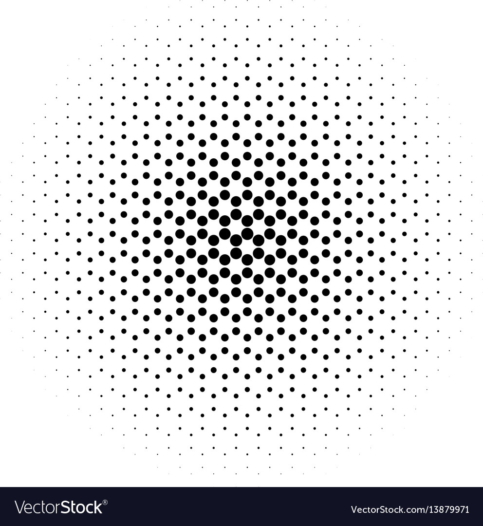 Abstract halftone circle of dots in radial