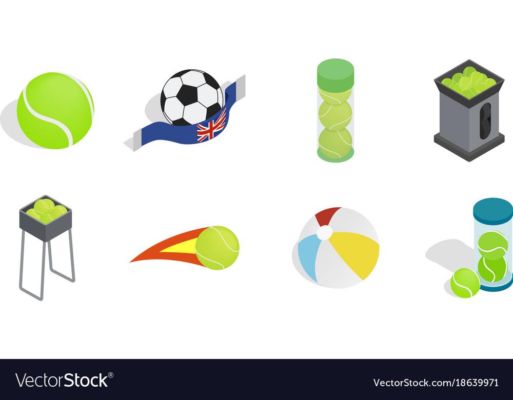 Balls icon set isometric style