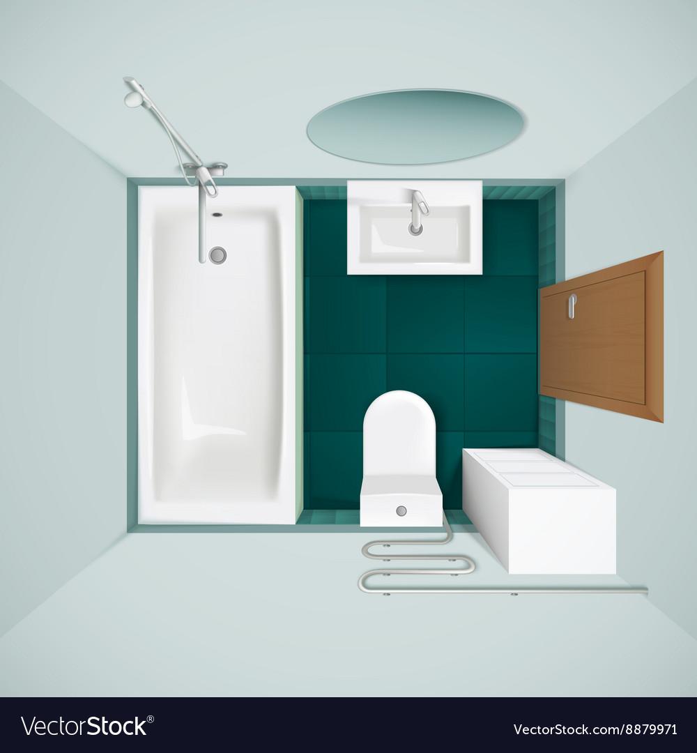 Bathroom Interior Top View Realistic Image Vector Image