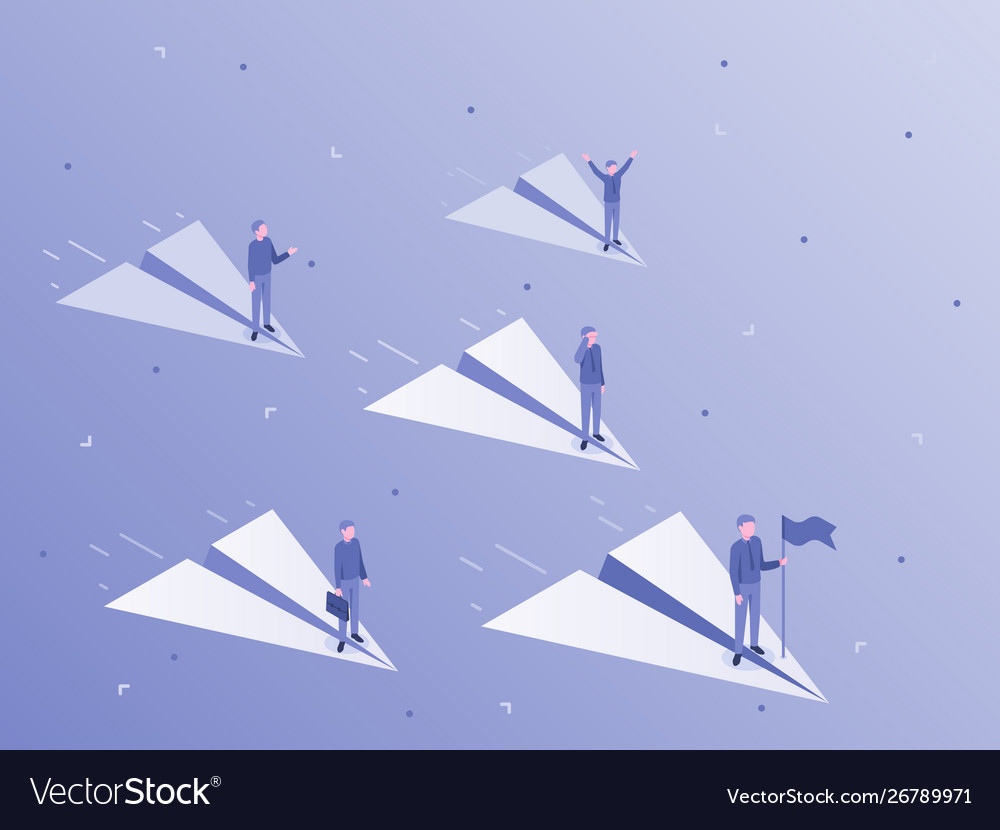 Businessman flying on paper airplane business