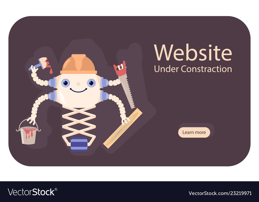 Concept website under construction with robot