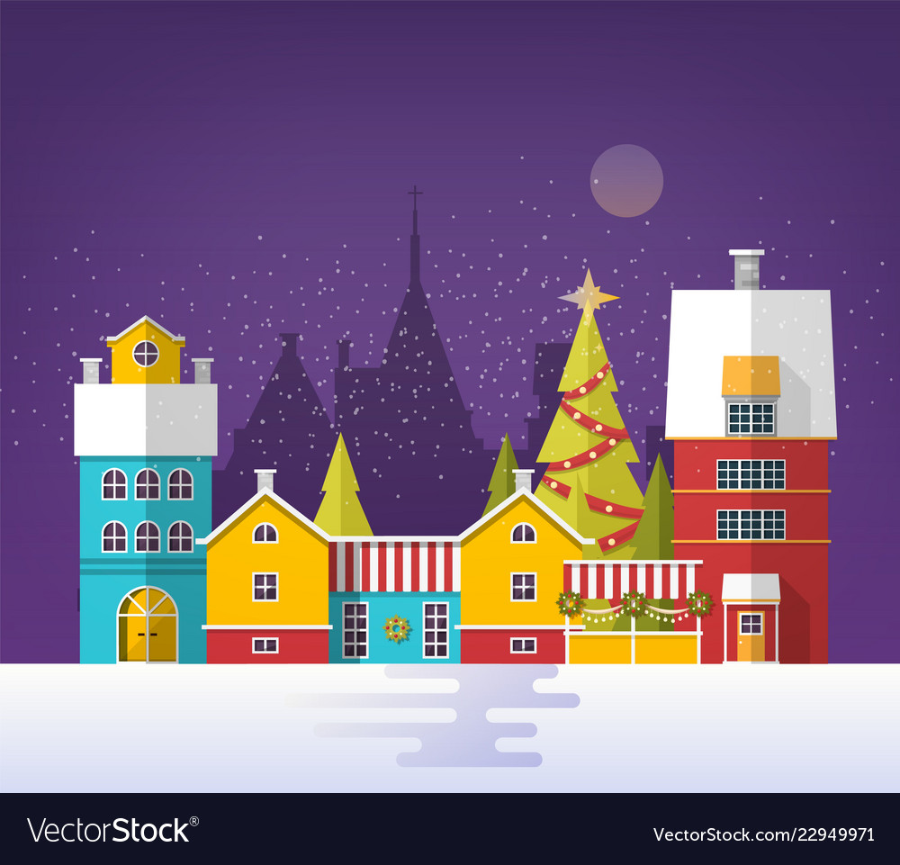 Evening winter urban landscape with old city town