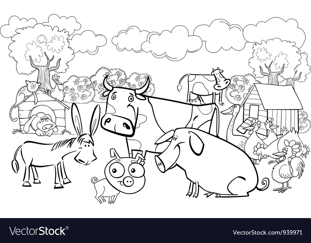 Farm animals for coloring book Royalty Free Vector Image