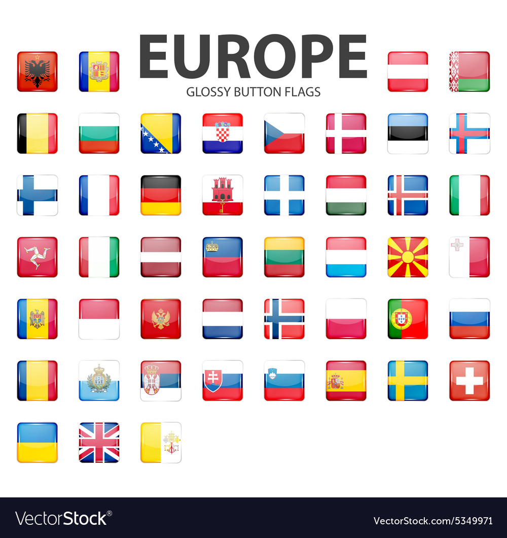 Glossy button flags - Europe Original colors