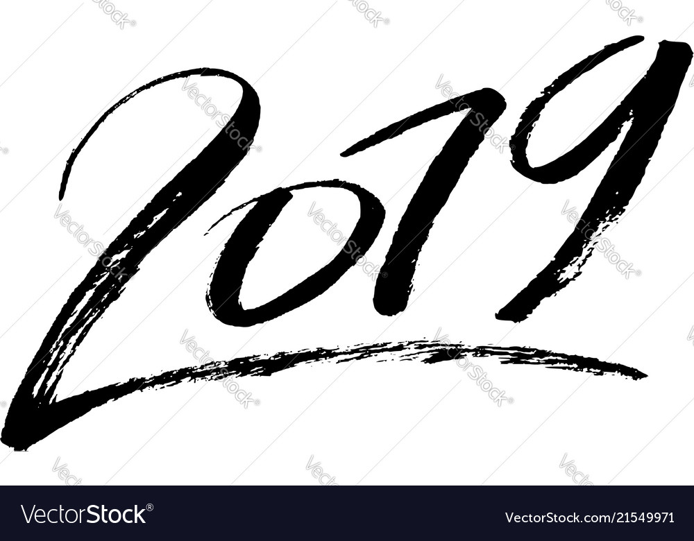 Lettering 2019 drawn by hand