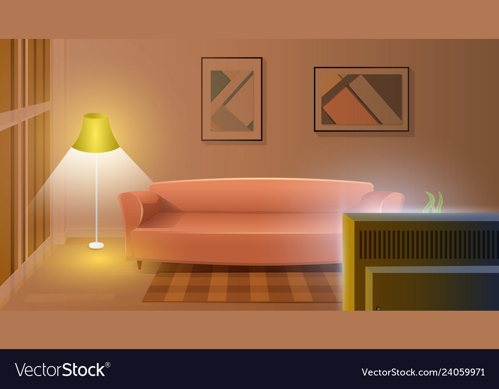 Modern Living Room With Working Tv Cartoon Vector Image