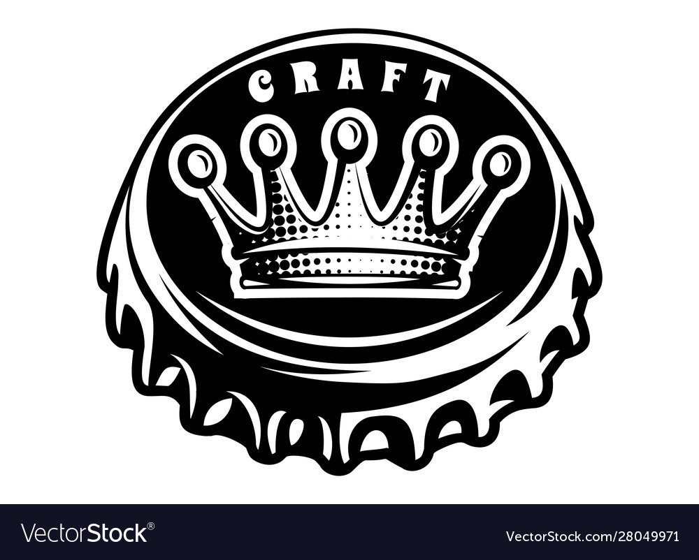 Monochrome with bottle cap and crown