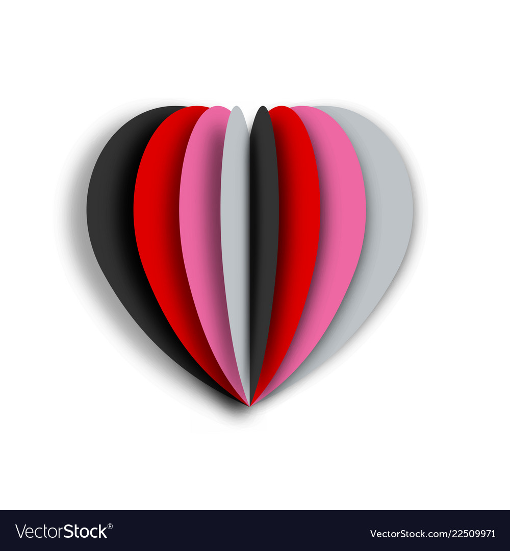 Paper art of colorful heart with white background