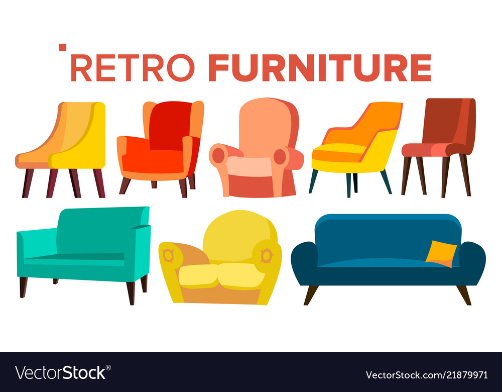 Retro Furniture Vintage 1950s 1960s Royalty Free Vector