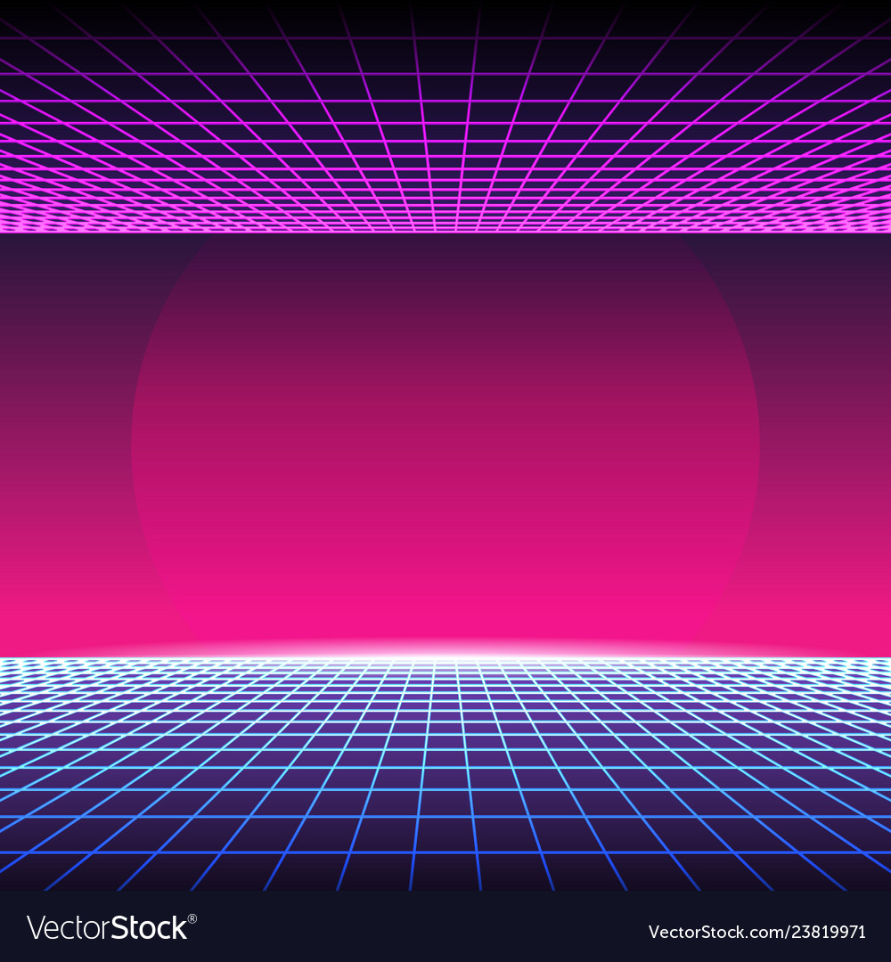 Retro neon light synthwave sci-fi background