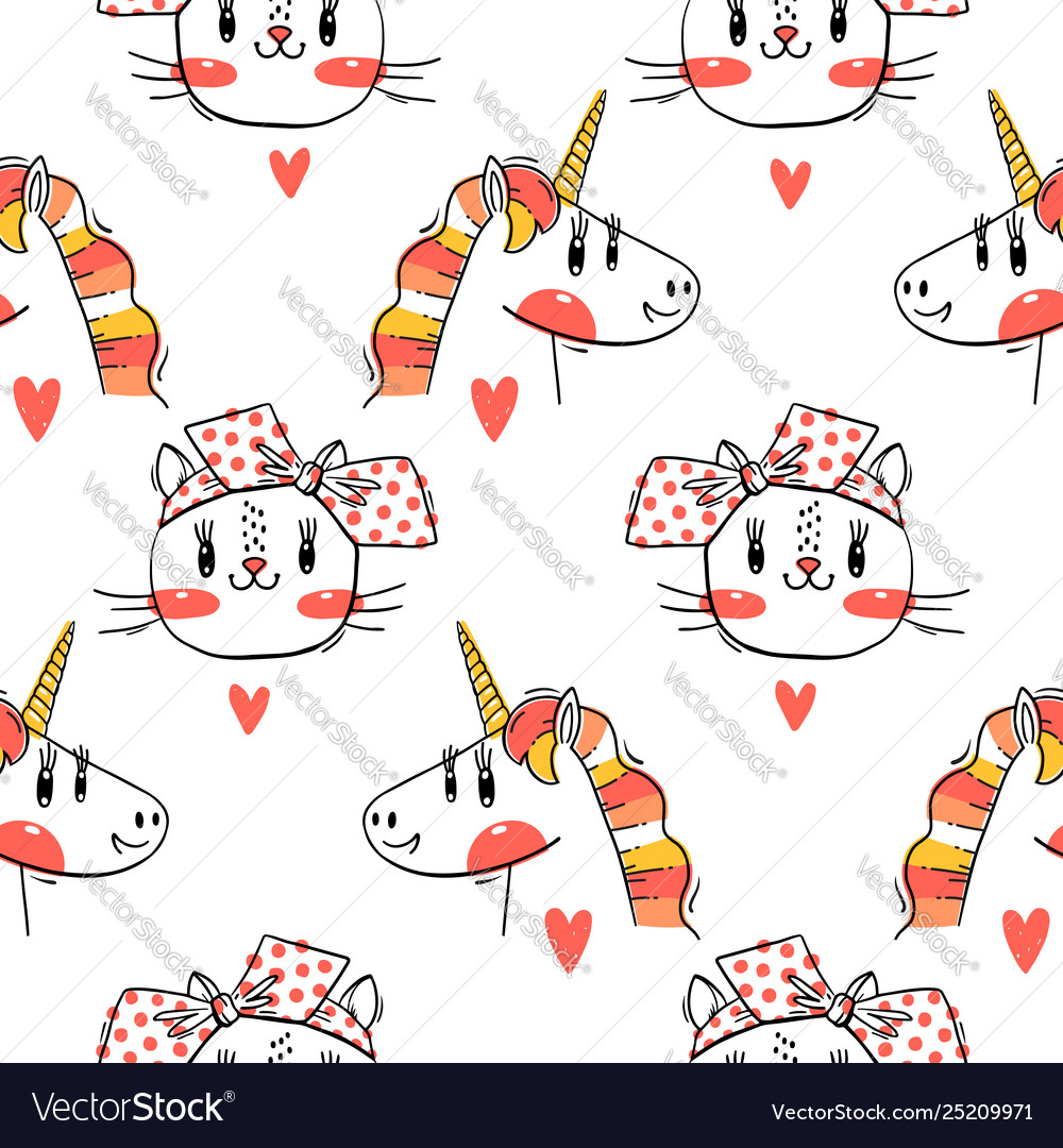 Seamless pattern with faces cats and rainbow