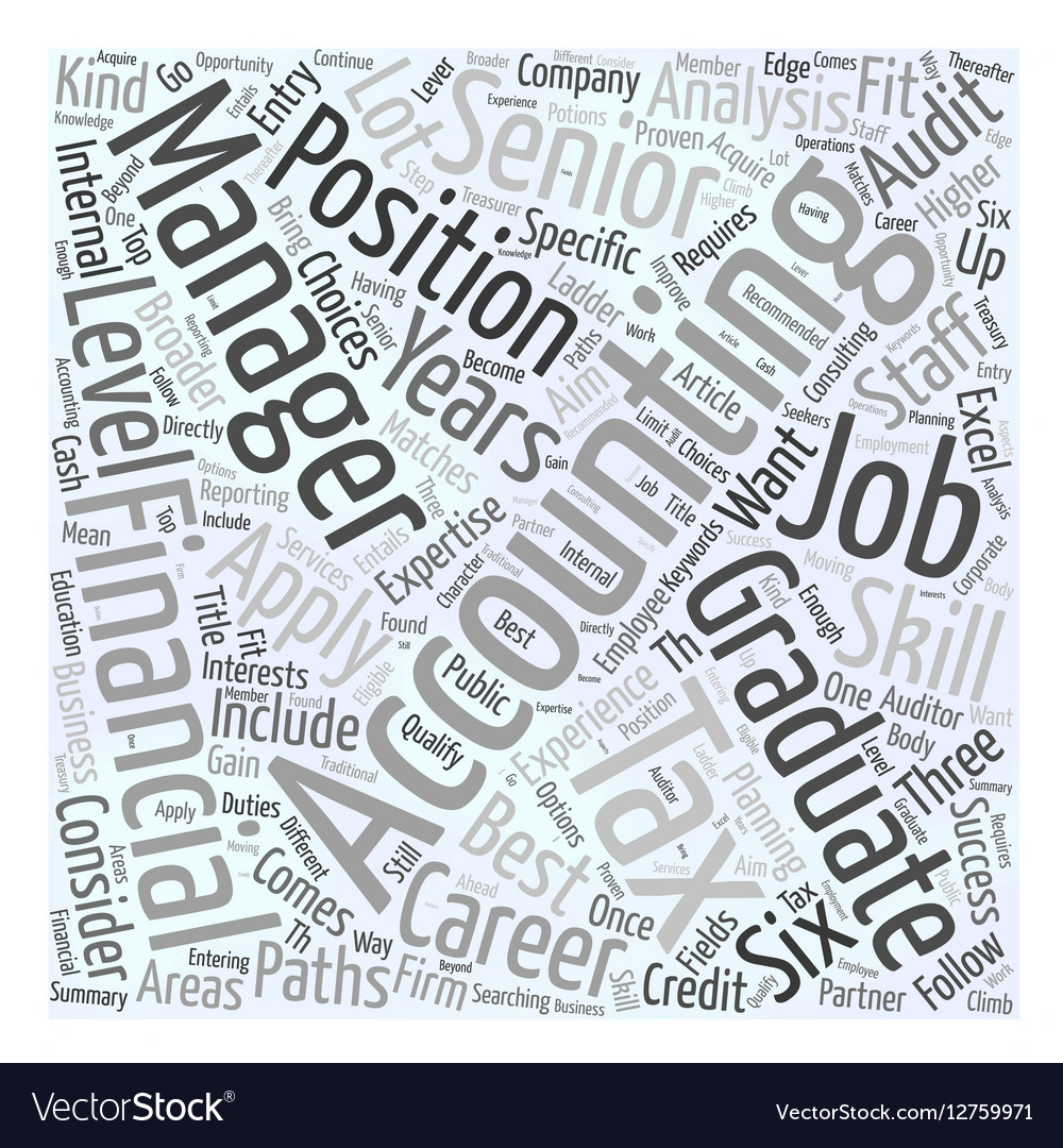 Searching For An Accounting Job Word Cloud Concept vector image