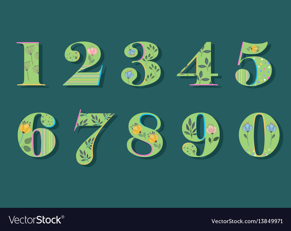 Set of green floral numerals watercolor flowers