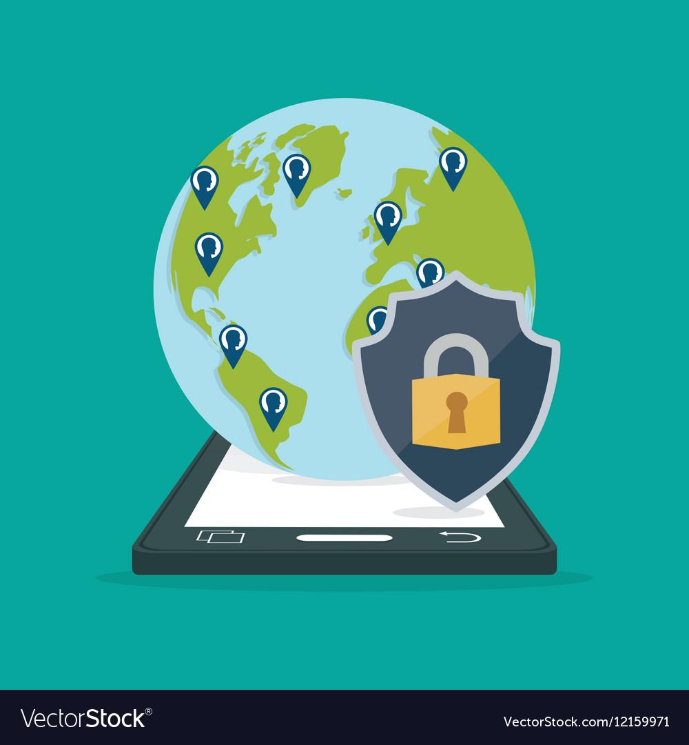 Smartphone contacts globe padlock internet