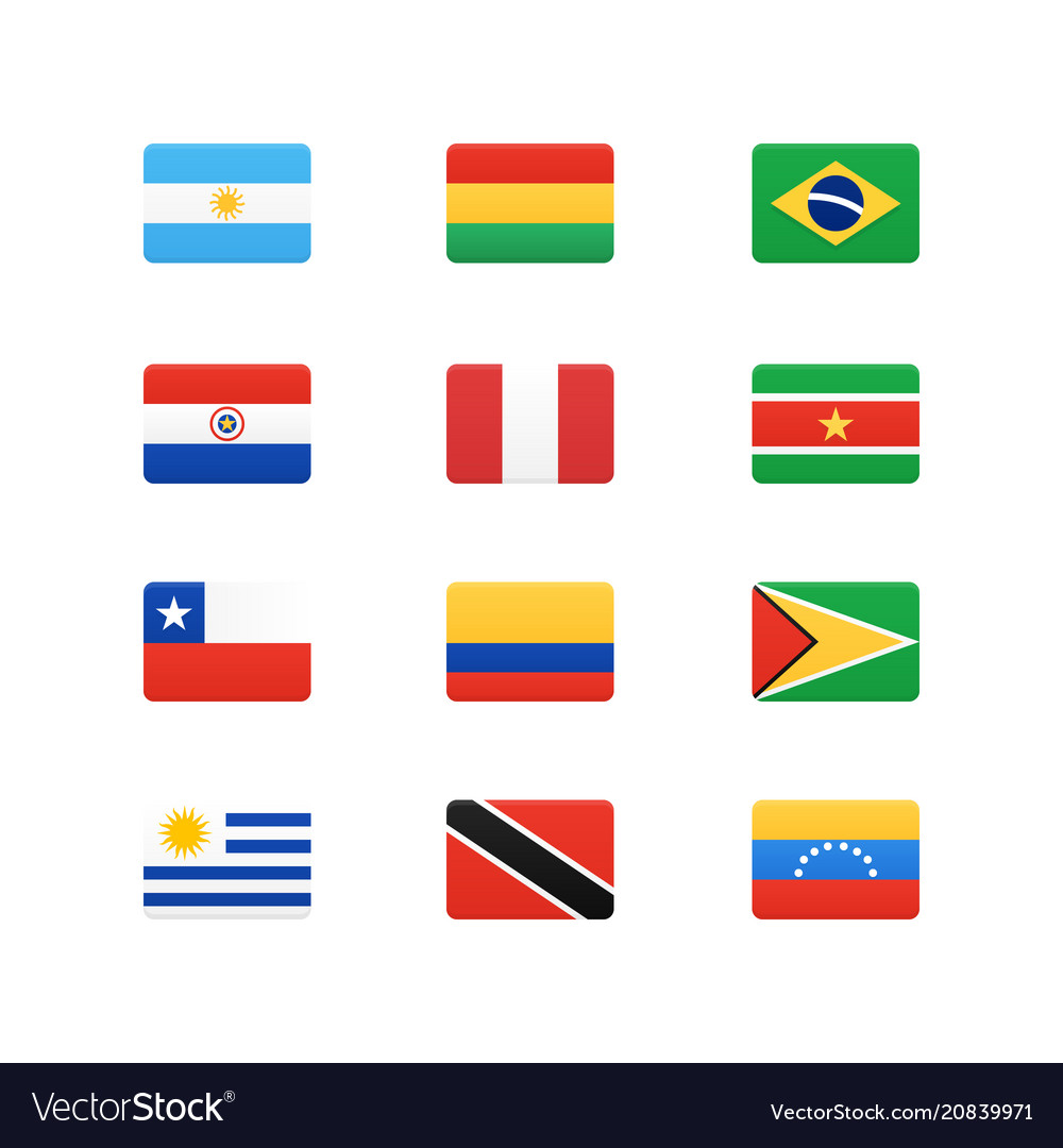 South america continent flags icons set
