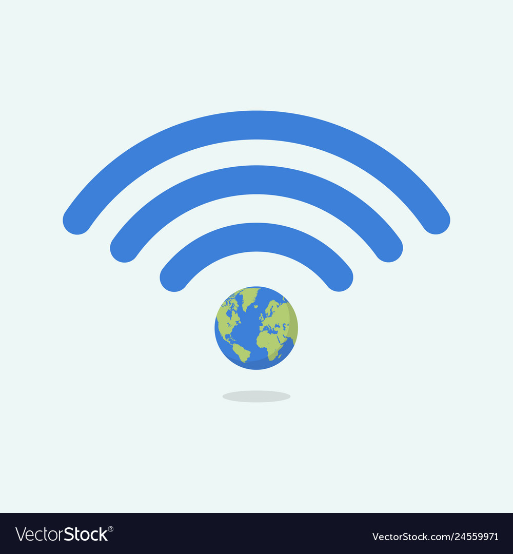 Wifi symbol with planet earth