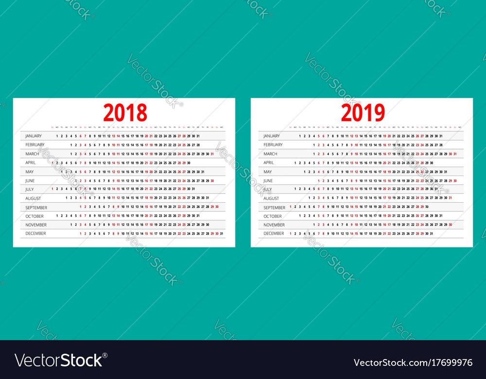 2018 And 2019 Calendar Print Template Portrait Vector Image