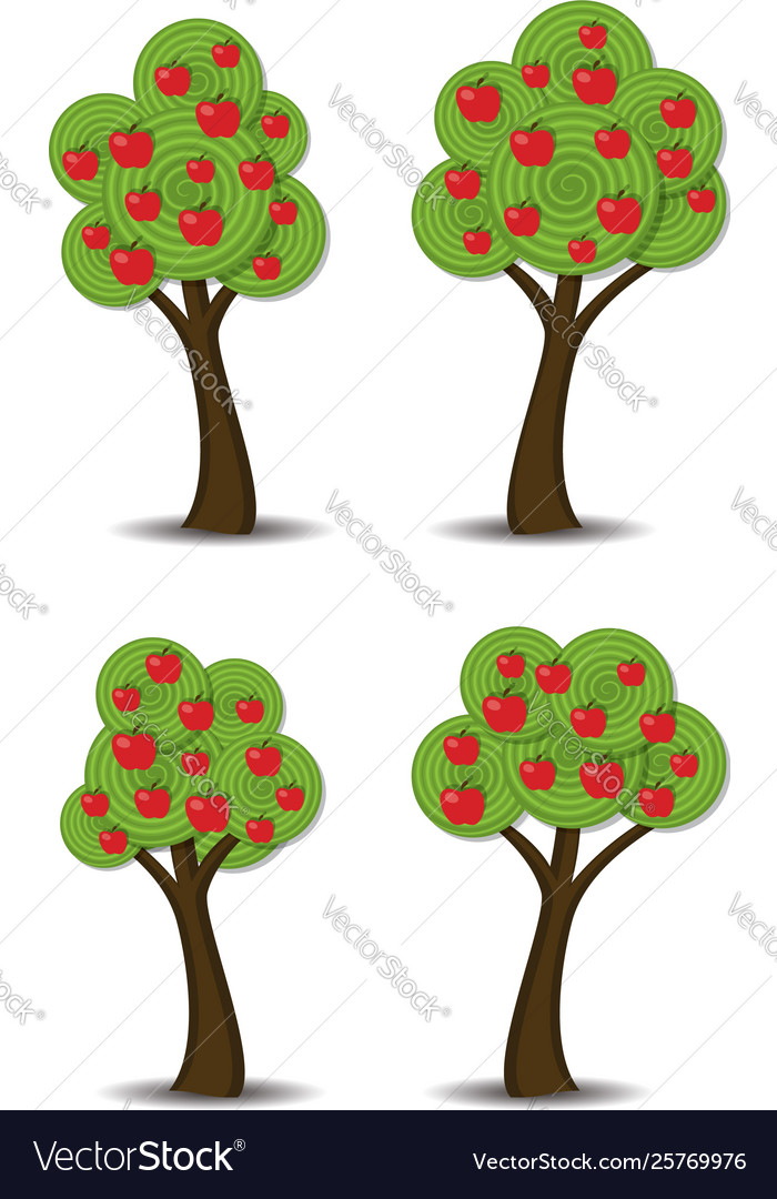Apple trees with fruits