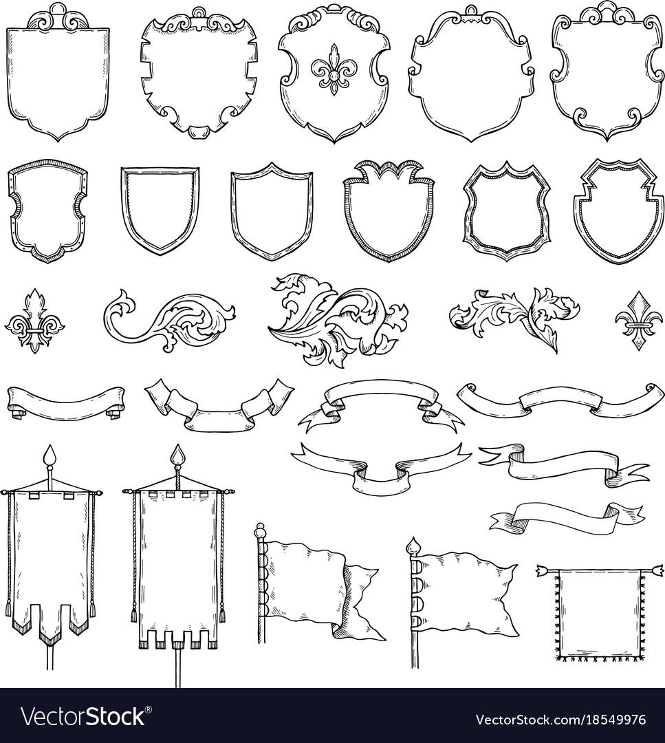 Armed medieval vintage shields