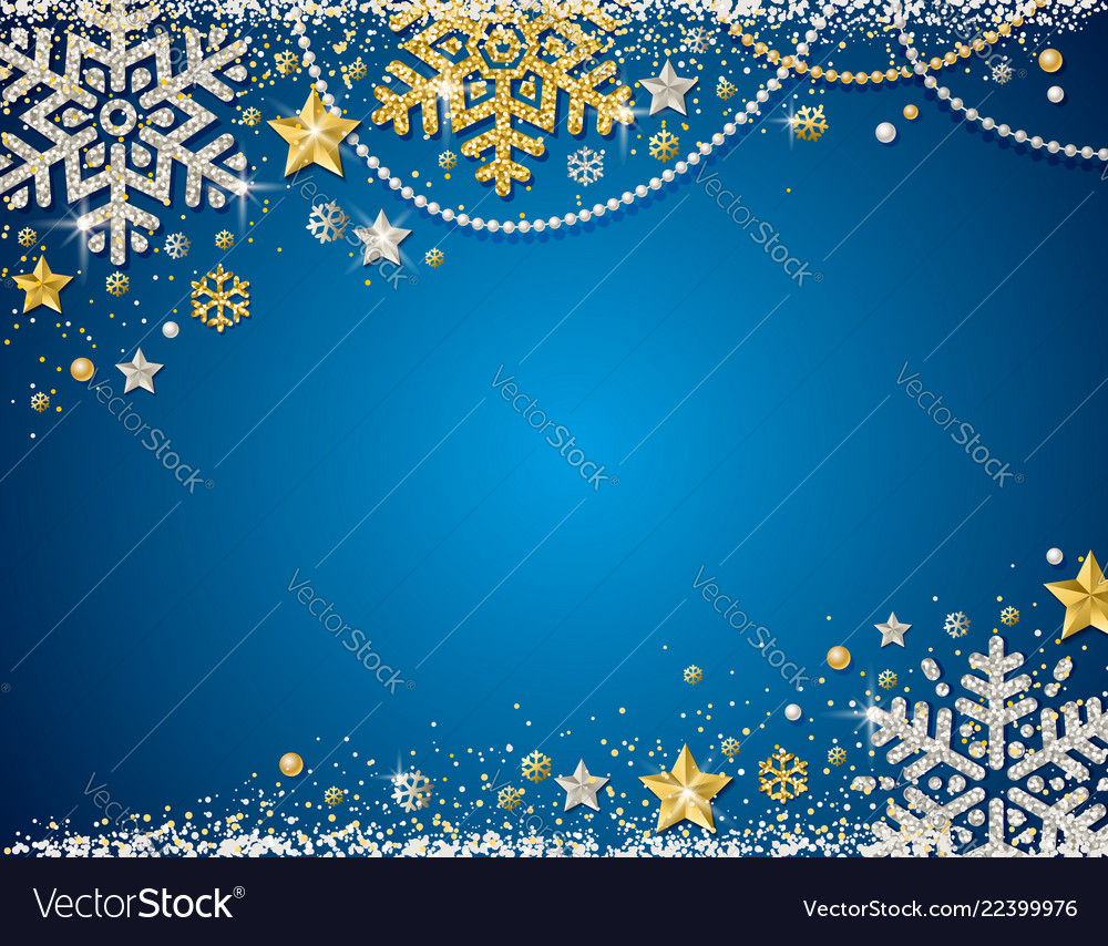 Blue christmas background with frame of golden