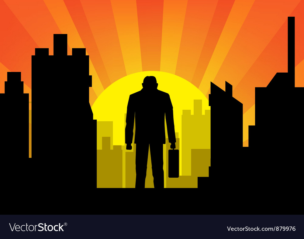 City with businessman vector