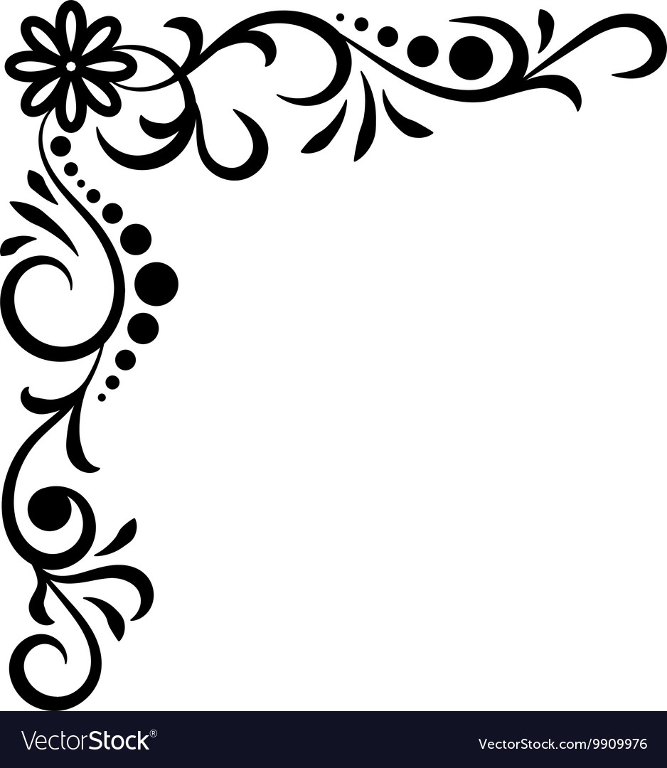 doodle abstract handdrawn corner flower royalty free vector vectorstock