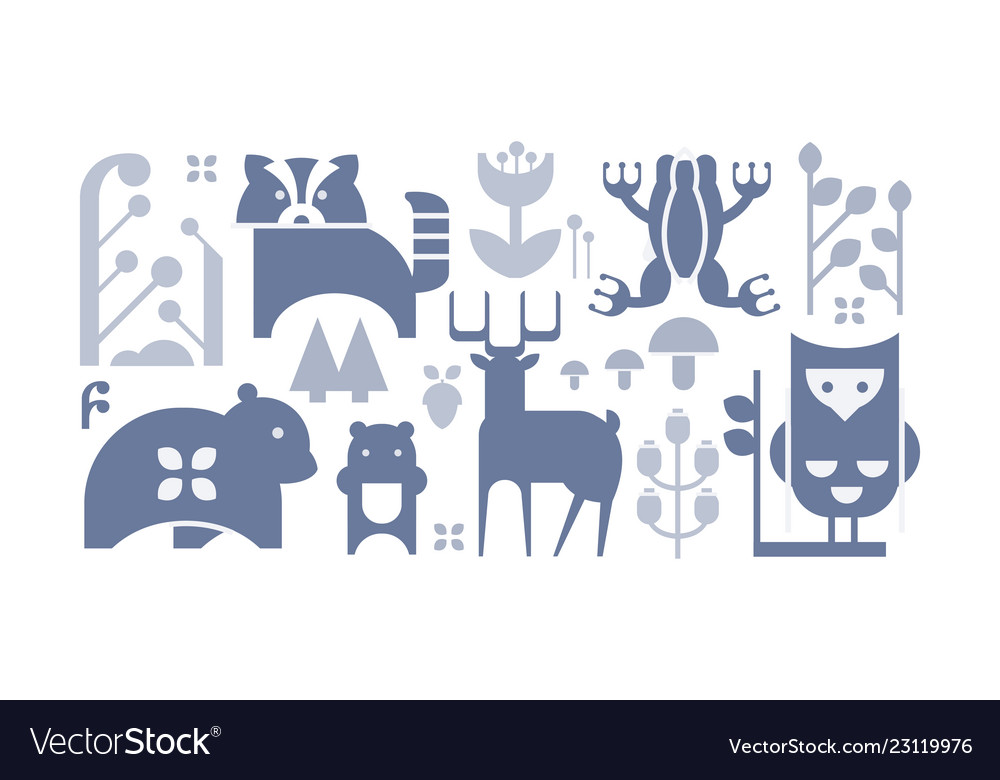 Flat set monochrome forest icons cute
