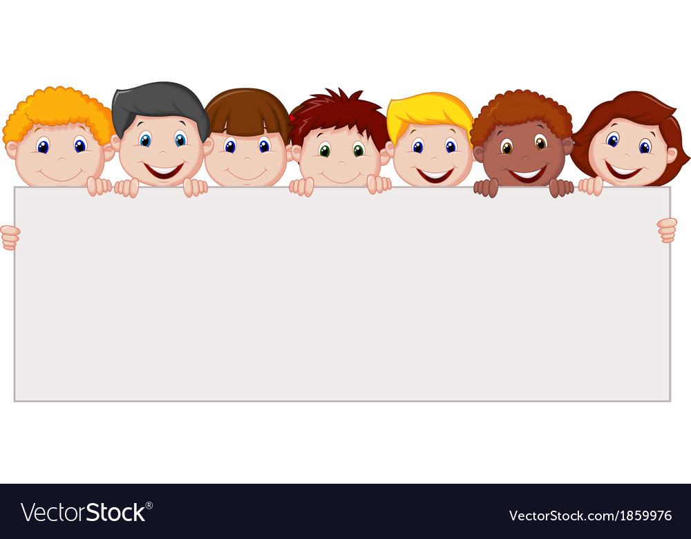 Kids cartoon with blank sign vector image