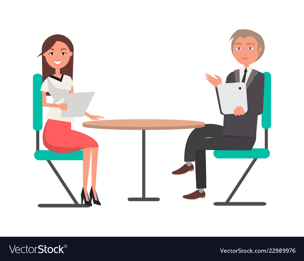 Round Table Jobs Application.Man And Woman On Business Meeting At Round Table