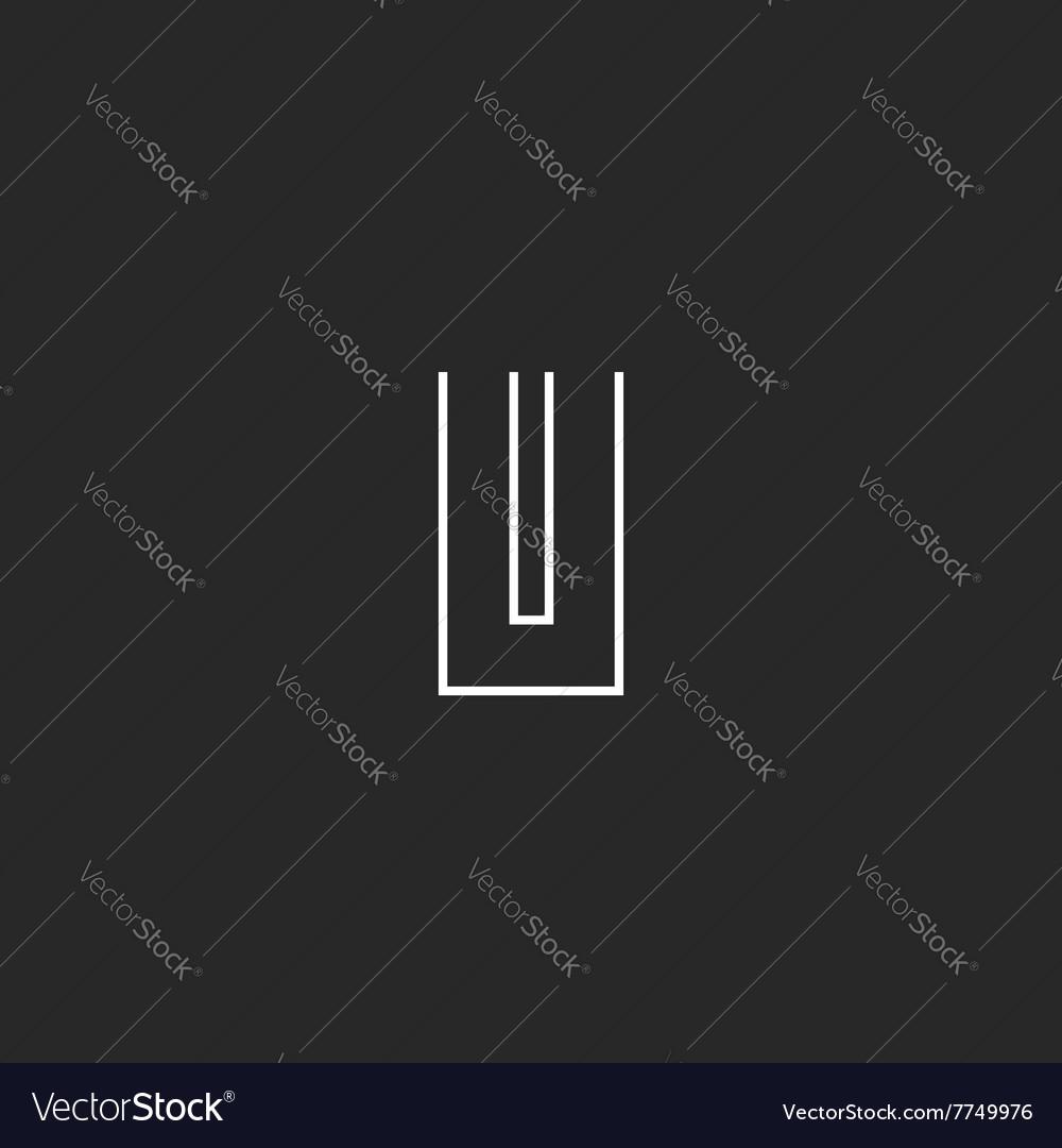 Modern letter U logo mockup monogram thin line